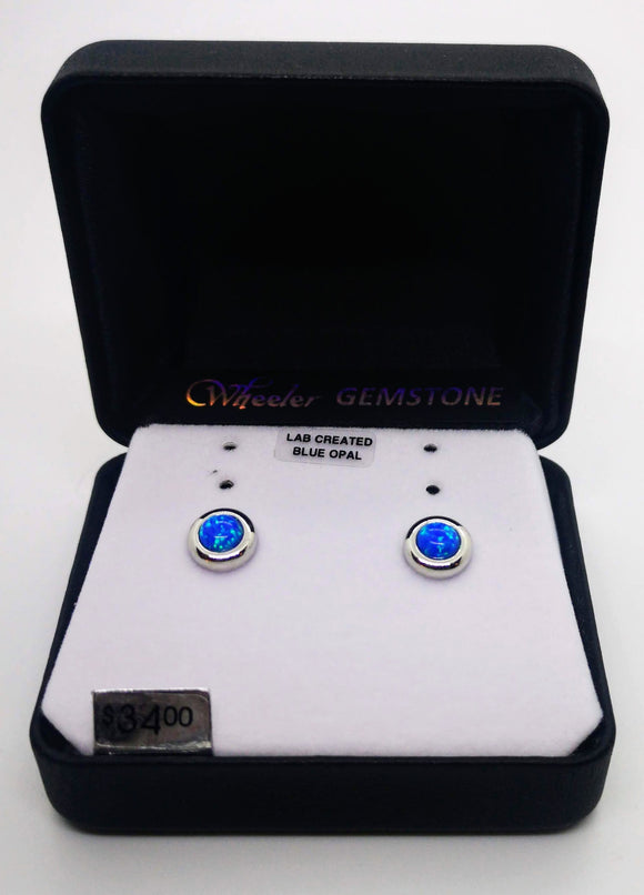 Wheeler Gemstone Lad Created Blue Opal Earrings