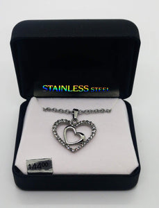 "Silver Stainless Steel Double Heart Pendant with Multiple Cubic Zirconia Stones and 18"" Chain"