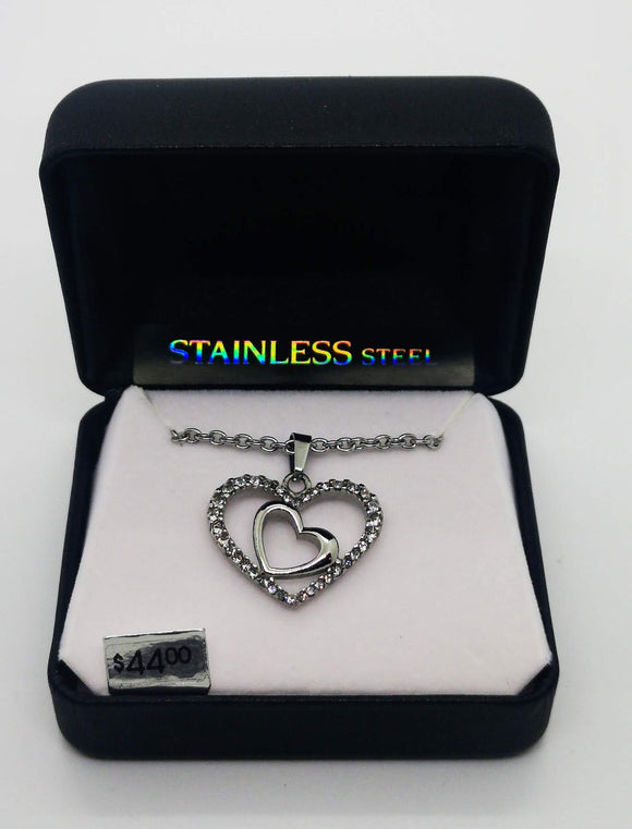 Silver Stainless Steel Double Heart Pendant with Multiple Cubic Zirconia Stones and 18