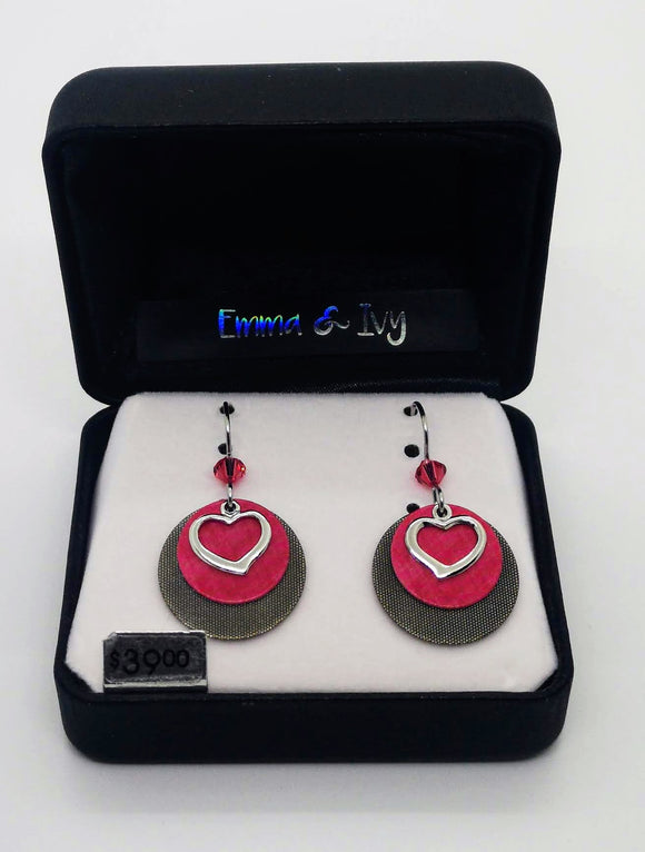 Emma & Ivy Dangle Round Pink Disc and Silver Heart Earrings