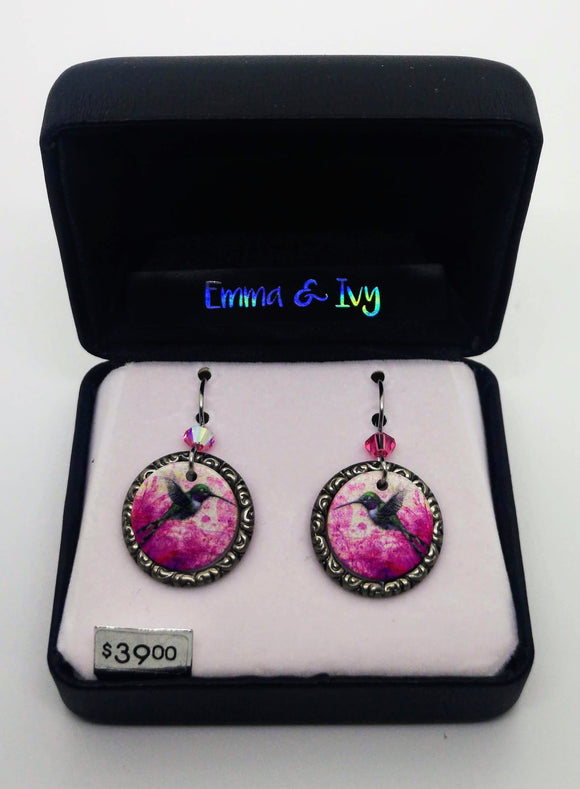 Emma & Ivy Pink Dangle Round Hummingbird Earrings