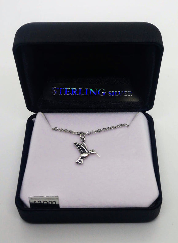 Sterling Silver Hummingbird Pendant with 18