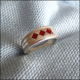 """Red Diamonds"" Care Assistant Ring"