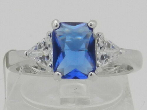 Bria Kate Stainless Steel Synthetic Blue Sapphire Ring