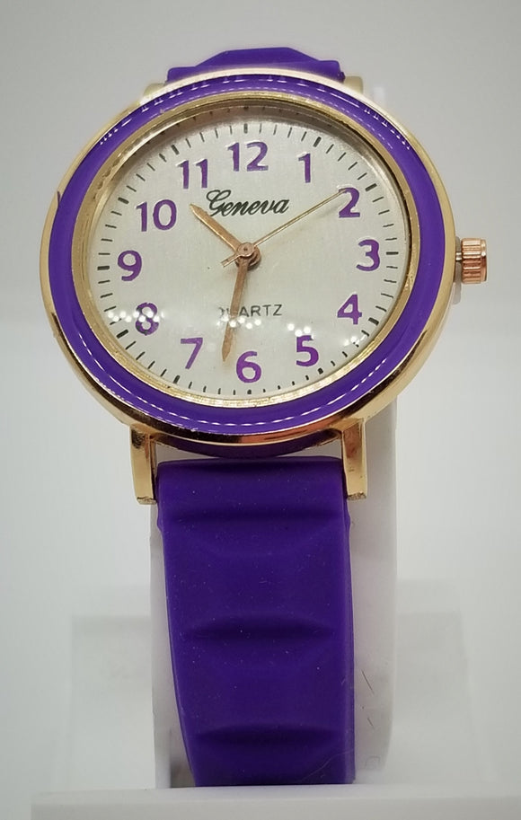 Gold base metal purple number and purple silicone strap fashion watch