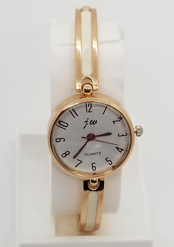 Gold base metal and white strap fashion watch with clasp bracelet