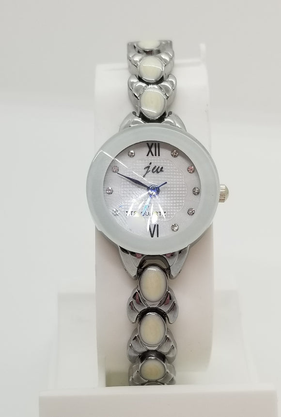 Silver base metal and white strap watch with rhinestones on watch face