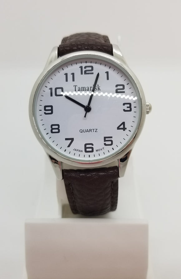 Silver base metal large number brown leather strap watch