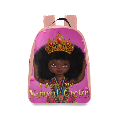 I Love My Natural Crown Kids L School Backpack/Large (Model 1601) - UrbanToons Inc.