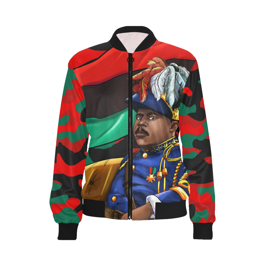 Marcus Garvey Woman's Red Army Bomber Jacket - UrbanToons Inc.