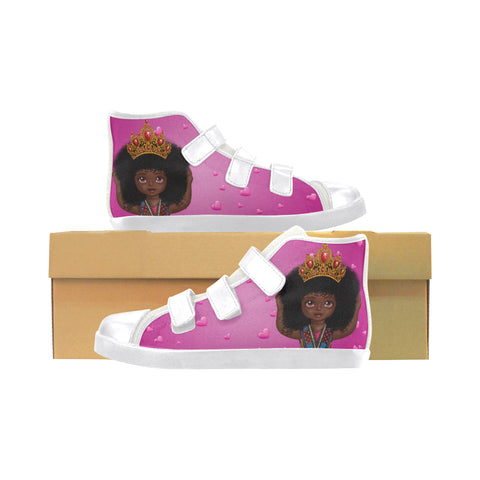 "Shakura,""I Love My Crown"" Velcro High Top Canvas Sneakers"