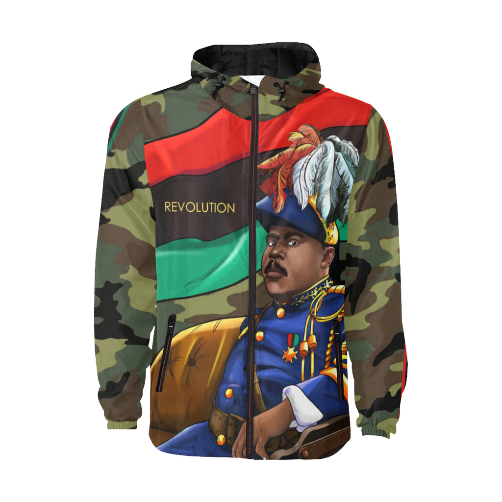 Marcus Garvey Army Green Camo Wind breaker for Men - UrbanToons Inc.