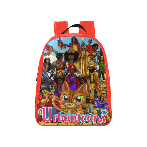Urbantoons Toon Nation kids Red Med School Backpack (Model 1601)(Medium) - UrbanToons Inc.