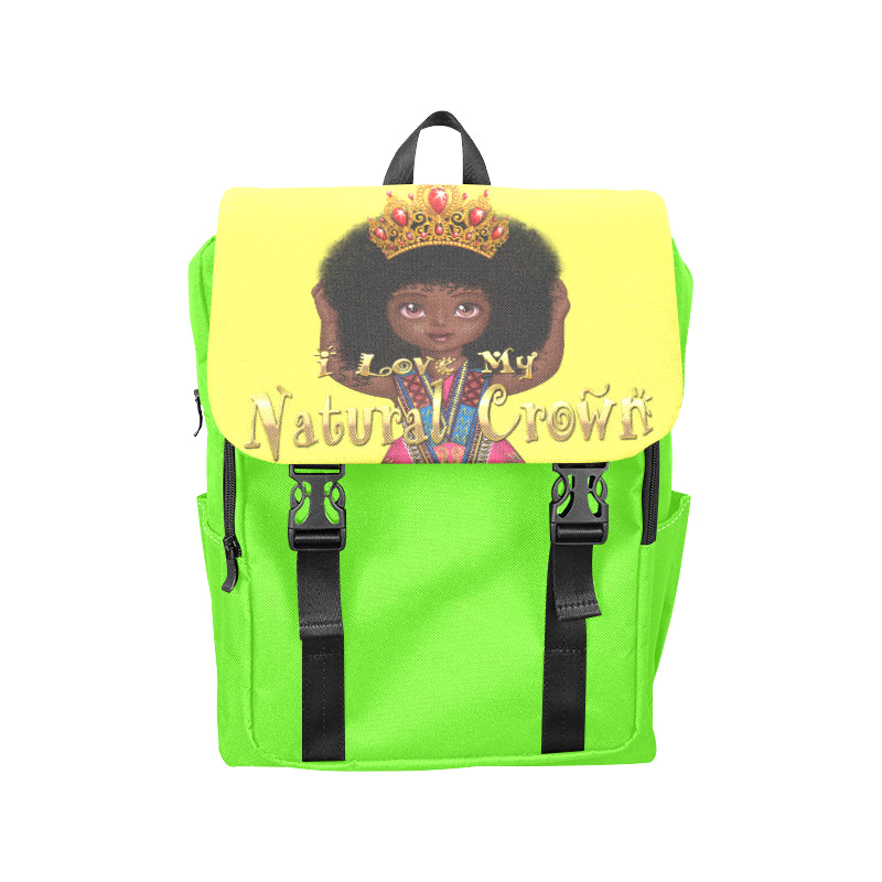Urbantoons I Love My Natural Crown Neo Green Casual Shoulders Backpack (Model 1623) - UrbanToons Inc.