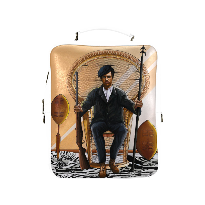 Huey P Newton Vegan Leather White Square Backpack (Model 1618) - UrbanToons Inc.
