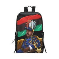 Marcus Garvey Black Vegan Leather Unisex Slim Backpack (Model 1664) - UrbanToons Inc.