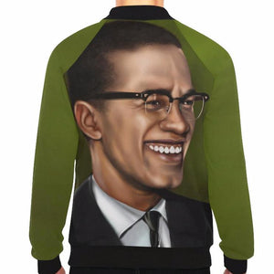 Malcolm X Green Baseball Jacket - UrbanToons Inc.