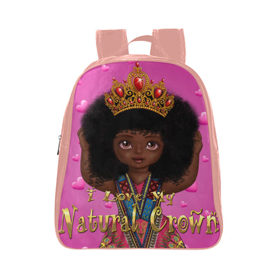 "Urbantoons, ""I Love My Natural Crown."" School Backpack (Medium) - UrbanToons Inc."