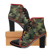 RBG Army Green Boooties Women's Lace Up Chunky Heel Ankle Booties (Model 054) - UrbanToons Inc.