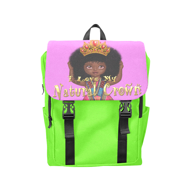 Urbantoons I Love My Natural Crown Neo Green Pink Casual Shoulders Backpack (Model 1623) - UrbanToons Inc.