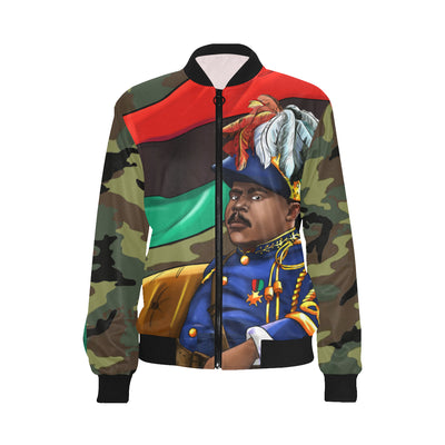 Marcus Garvey Woman's Army Bomber Jacket - UrbanToons Inc.