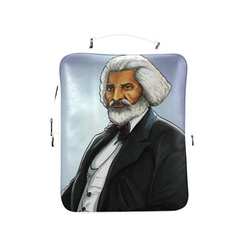 Fredrick Douglass Vegan Leather White Square Backpack (Model 1618) - UrbanToons Inc.