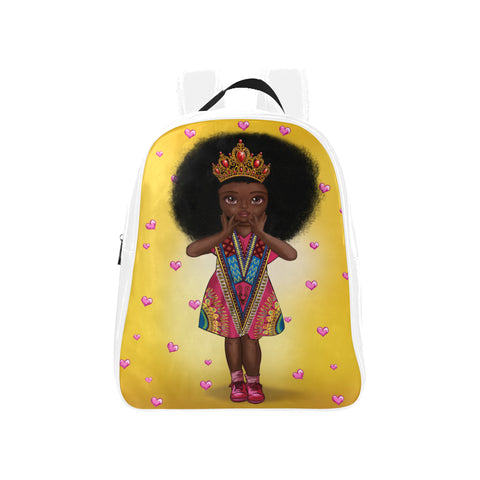 Shakura Kids M White School Backpack (Model 1601)(Medium) - UrbanToons Inc.