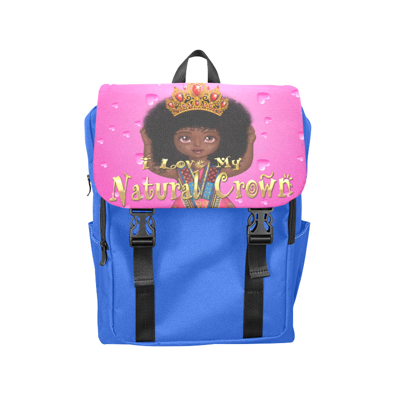 Urbantoons I Love My Natural Crown Blue Casual Shoulders Backpack (Model 1623) - UrbanToons Inc.