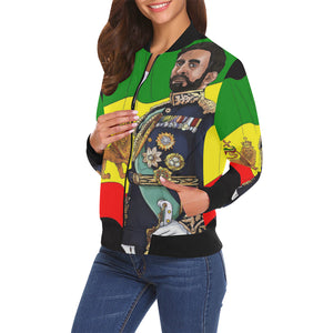 Haile Selassie I Ladies Bomber All Over Print Bomber Jacket for Women (Model H19) - UrbanToons Inc.