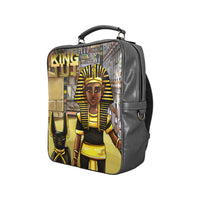 King Tut Vegan Leather Black Square Backpack (Model 1618) - UrbanToons Inc.