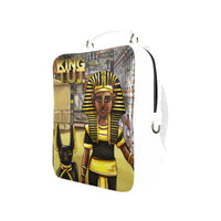 King Tut Vegan Leather White Square Backpack (Model 1618) - UrbanToons Inc.