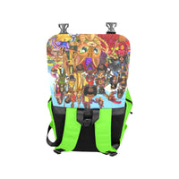 Urbantoons Toon Nation Kids Book Bag Neon Green Casual Shoulders Backpack (Model 1623) - UrbanToons Inc.