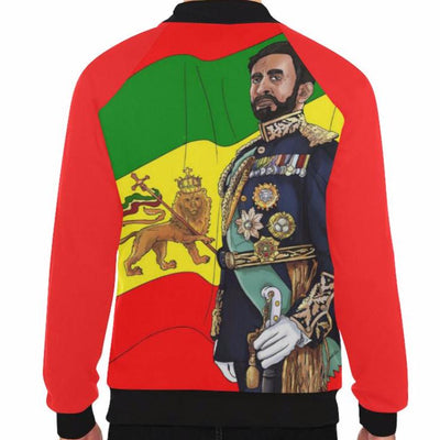 Haile Selassie I BAseball jacket Red Men - UrbanToons Inc.