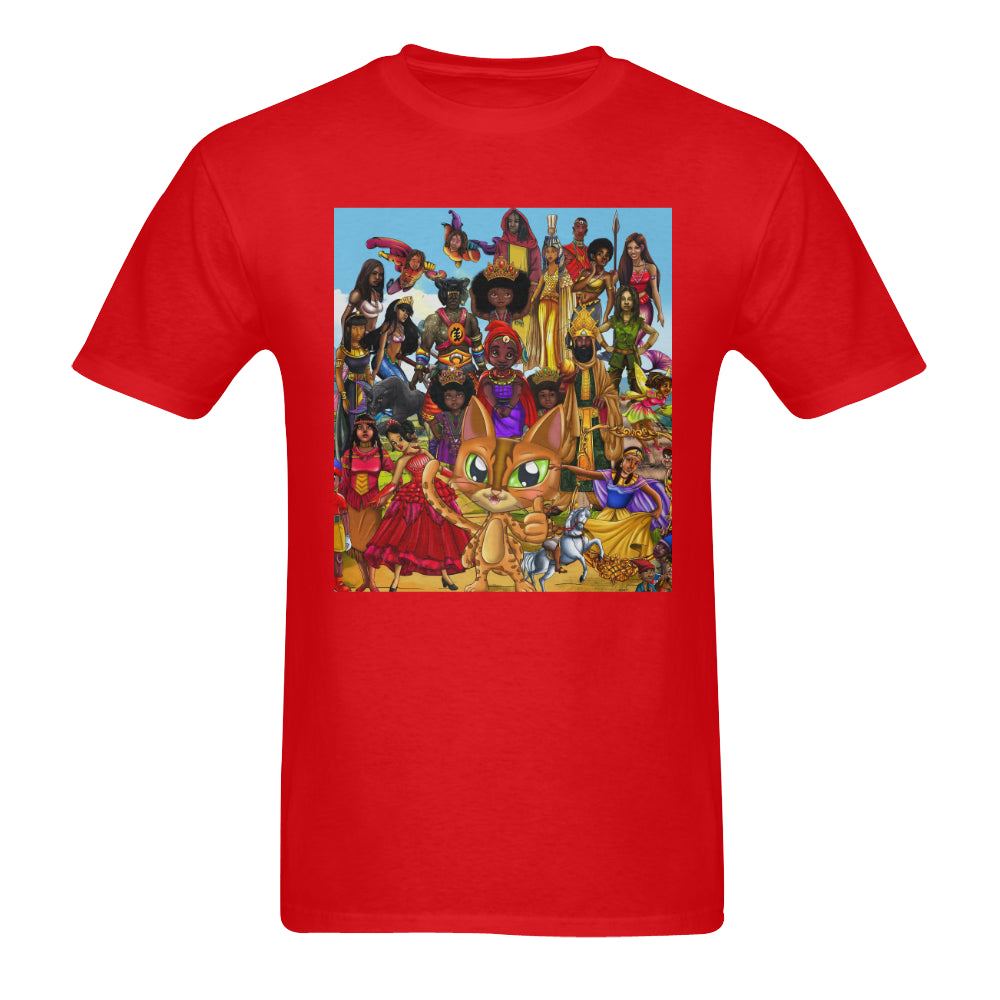 Urbantoons Toon Nation Red Sunny Men's T-shirt (USA Size) (Model T02) - UrbanToons Inc.