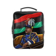 Marcus Garvey Vegan Leather Black Square Backpack (Model 1618) - UrbanToons Inc.