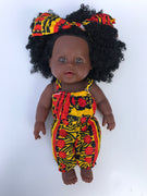 Baby Imani Orange Dashiki Natural Hair Doll - UrbanToons Inc.