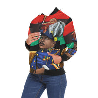 Urbantoons Marcus Garvey Lady's Bomber All Over Print Bomber Jacket for Women (Model H19) - UrbanToons Inc.