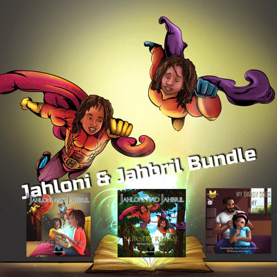 Jahloni and Jahbril Book Bundle bonus Daddy Does My Hair - UrbanToons Inc.