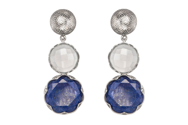 Lapis Lazuli and Blue Chalcedony Circle Earrings