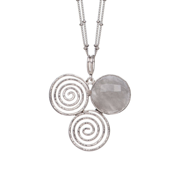 Gray Agate Spiral Trinity Pendant