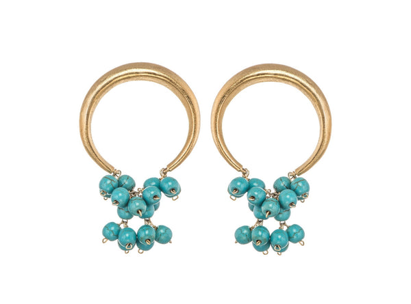 Turquoise Bunched Loop Earrings