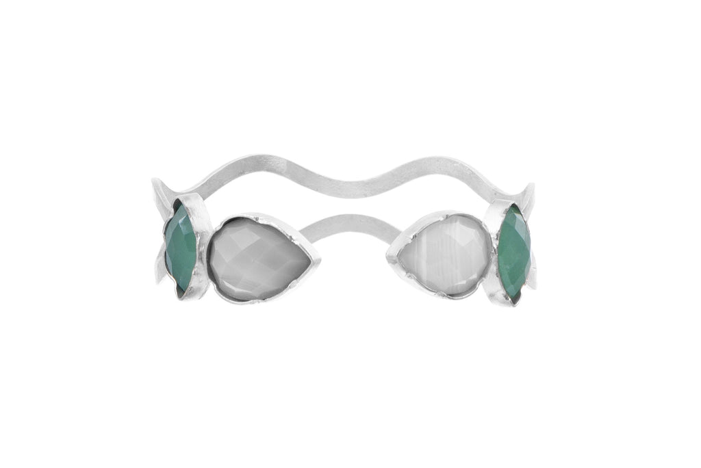 Green Chalcedony & Agate Wave Cuff