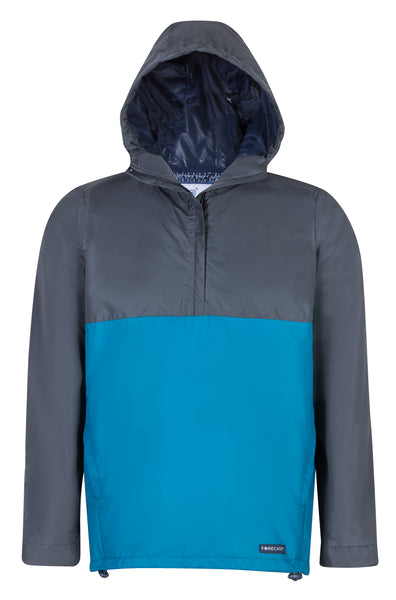 Mens Two Tone Charcoal & Teal Rain Jacket