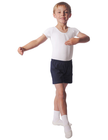 BOYS/MENS WHITE SHORT SLEEVE LEOTARD