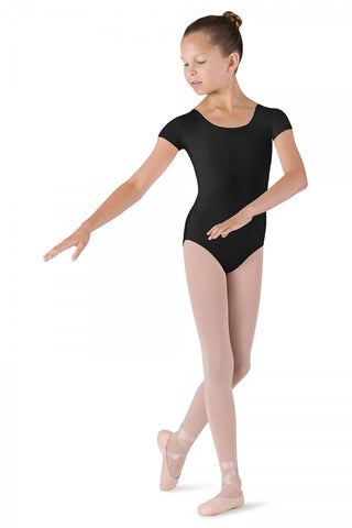 Dujour round neck cap sleeve leotard by Bloch. CL5602 Girls