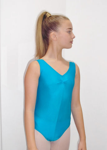 Tank sleeveless nylon lycra leotard with ruched front neckline