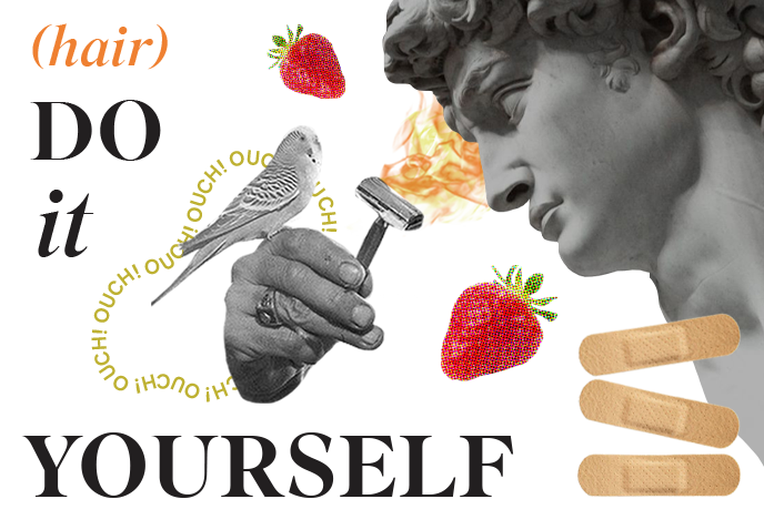 "Collage of strawberries, bird, razor, band aid, and statue head with ""(Hair) do it yourself"" text"