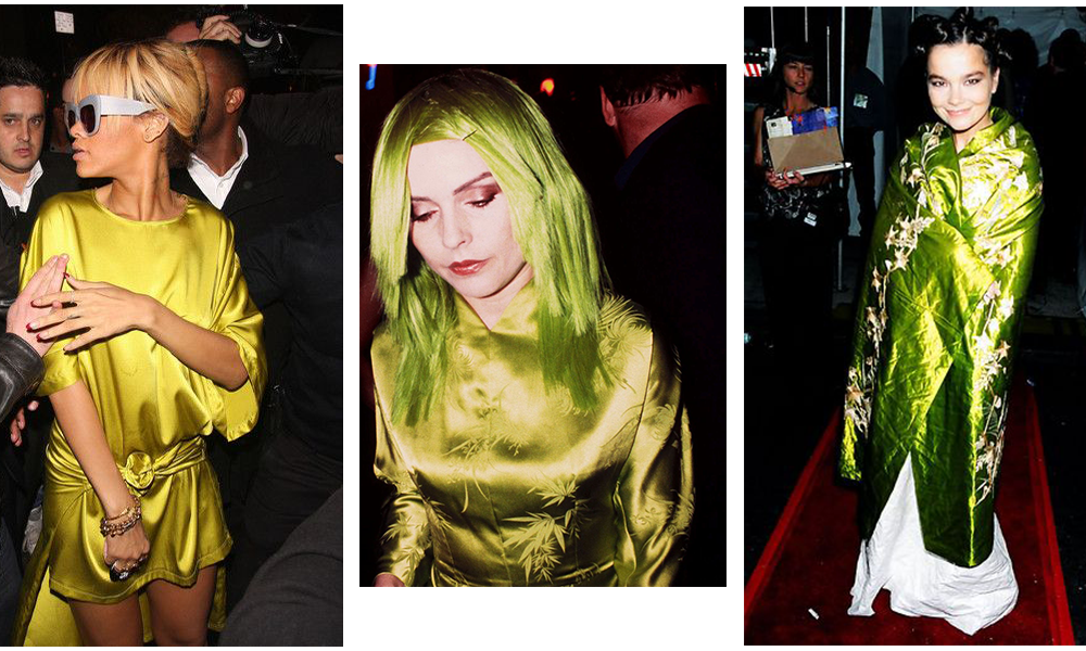 Debby Harry, Bjork, and Rihanna all in green dresses.