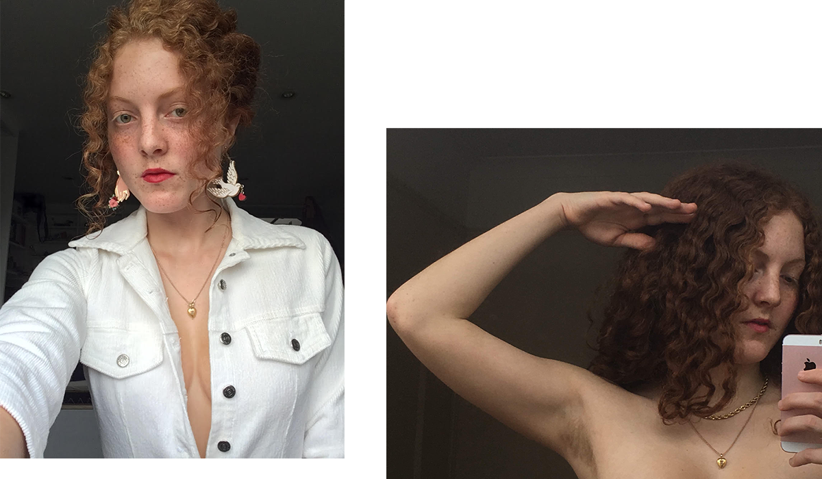 Ella Pavlides pictured left with her ideal hairstyle, and right featuring her armpit hair.