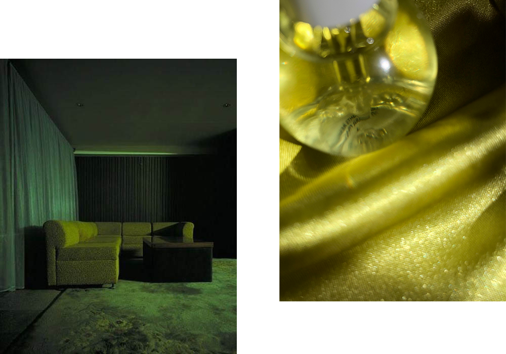 Green furniture in a green room / Fur Oil.